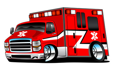 Red Paramedic Ambulance Rescue Truck Illustration