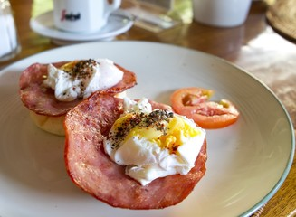 Breakfast with poached eggs
