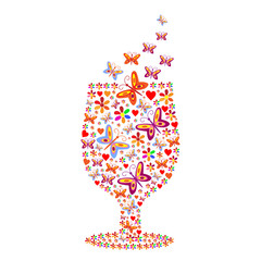 Silhouette of a glass with a pattern of flowers and butterflies
