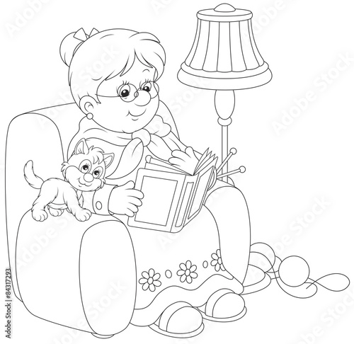 Quot Grandmother Sitting In Her Armchair And Reading A Book