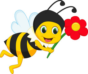 cete bee with red flower