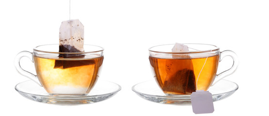Glass of Tea with Bag End. Isolated on white background, with cl
