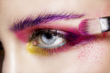 Fotorolgordijn Beauty Close up on eyes , making colorful eyeshadows and eyeliner