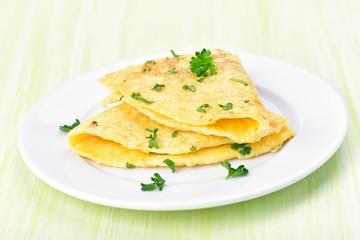 Omelette on white olate