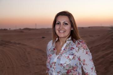 Happy women in a desert