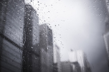 multiple drops of water on a bus window ( vintage)