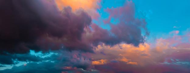 Aluminium Prints Heaven Dramatic evening cloudy sky at sunset. Panoramic view.