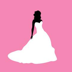 Female silhouette in a white dress