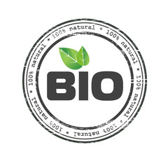 Bio food logo element with green leaves