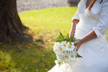Bride and Bouquet in a Wedding Day