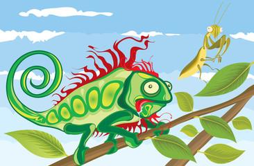 Photo sur Plexiglas Dinosaurs Chameleon hunting Praying Mantis