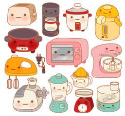 Set of adorable kitchen appliances - Vector file EPS10