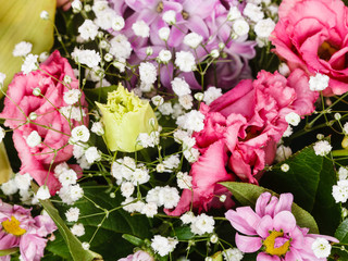 detail of bouquet with decorative flowers