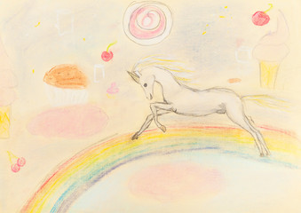 children drawing - fairy unicorn on rainbow