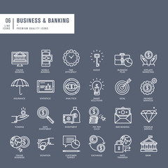Set of thin lines web icons for business and banking