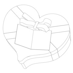 Open Box for a gift with a bow close-up circuit