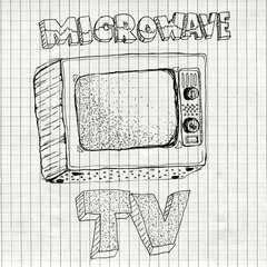 Microwave TV device, funny hand drawn illustration