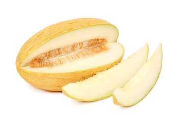 Ripe melon and two slices (isolated)
