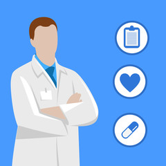 Doctor illustration with medical icons