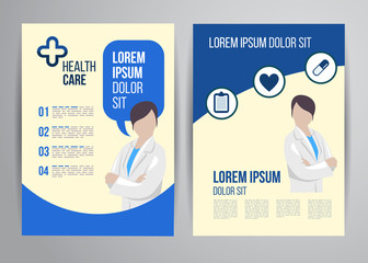 Healthcare brochure concept. Clinic flyer design with doctor and medical icons.