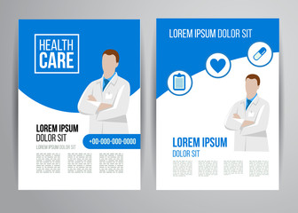 Healthcare brochure with doctor. Flyer design medical concept for clinic marketing.