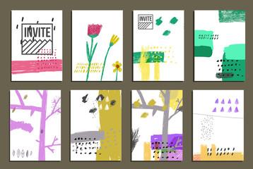 Hand drawn design concept. Invite card for wedding or happy birthday.