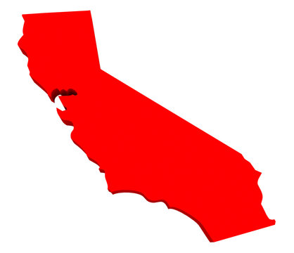 California CA USA Red 3d State Map