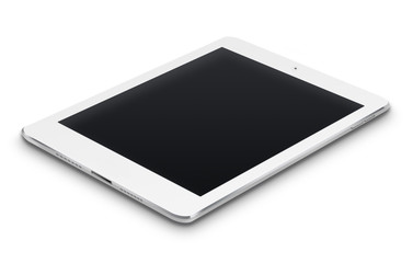 Realistic tablet computer with black screen.