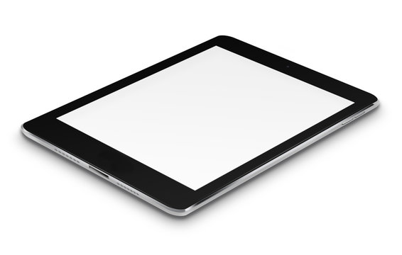 Realistic tablet computer with blank screen.