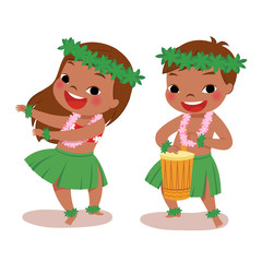 hawaiian boy playing drum and hawaiian girl hula dancing