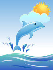 Dolphin jumping with sun and clouds image