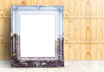 Blank Vintage frame with double exposure of tree landscape image