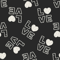 love word doodle seamless pattern background