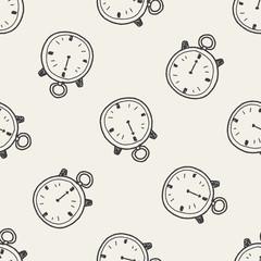 stopwatch doodle seamless pattern background