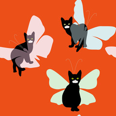 Small black kitten and butterfly,, seamless wallpaper