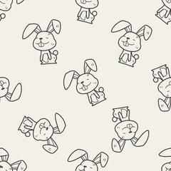 rabbit doodle seamless pattern background