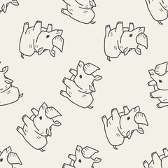 rhino doodle seamless pattern background