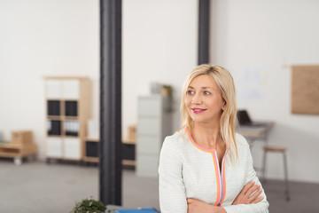 lächelnde ältere geschäftsfrau im büro