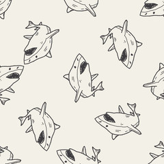 shark doodle seamless pattern background