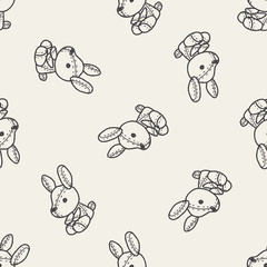 rabbit doll doodle seamless pattern background