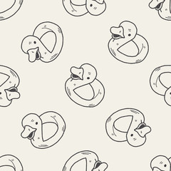 duck doodle seamless pattern background