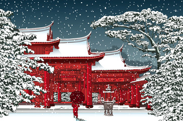 Acrylic Prints Art Studio Japanese or chinese temple under snow