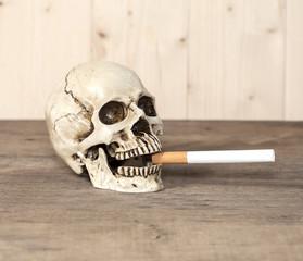 Smoking human skull with cigarette