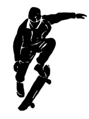 grunge skateboarder jumping, vector illustration