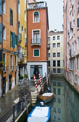Quiet corner of Venice with multi-colored houses
