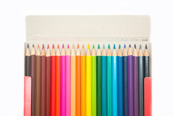 colorful of crayon wood in paper box