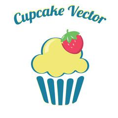 Cupcake yummy turquoise yellow retro bakery