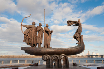 Poster Kiev Popular monument to the founders of Kiev on Dnieper river bank