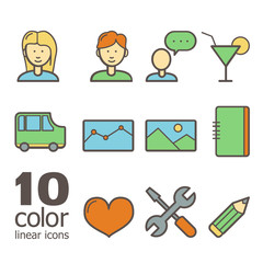 Set of linear color icons