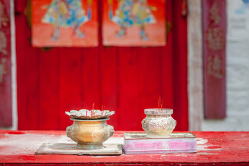 incense in old traditional chinese temple